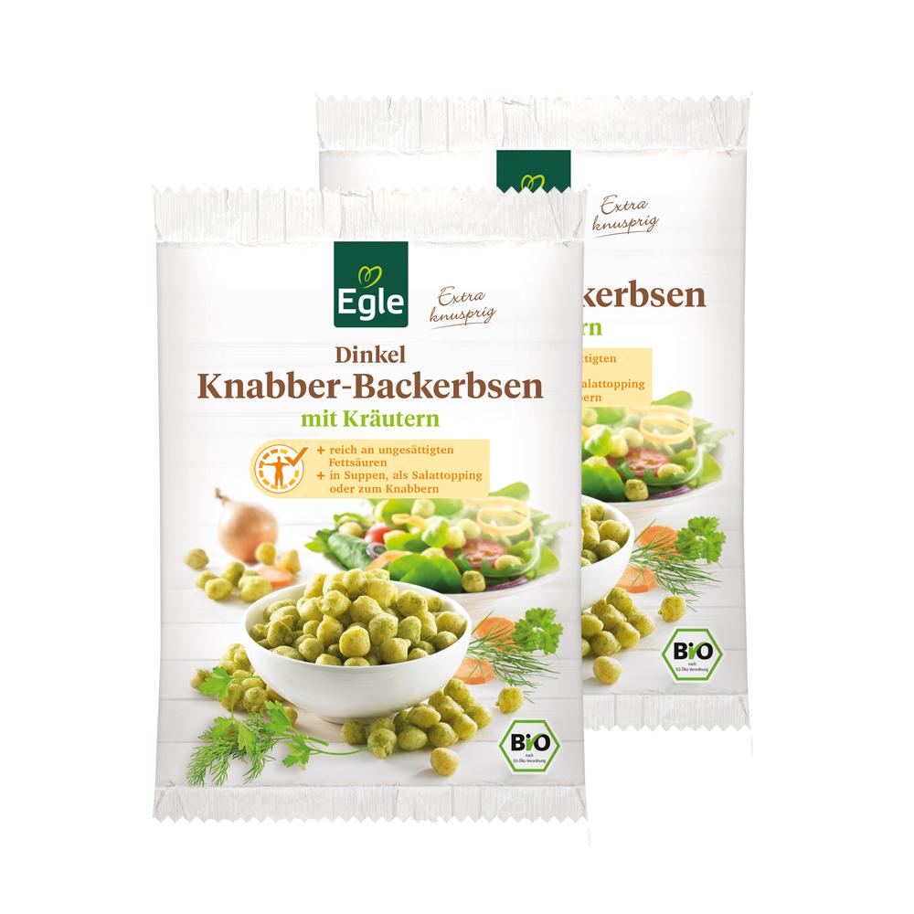 Bio Dinkel-Knabber-Backerbsen Kräuter 2 x 100 g