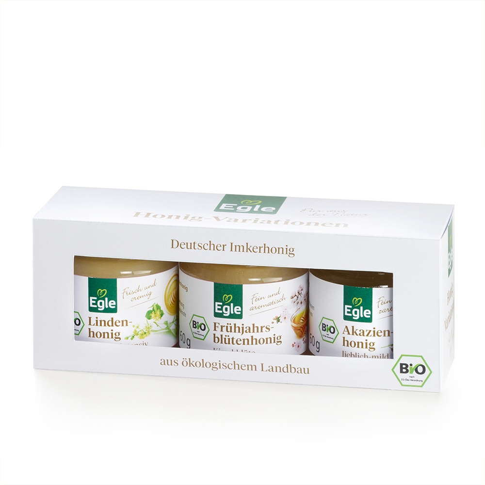 Bio Honig-Variationen im Geschenkkarton 3 x 60 g