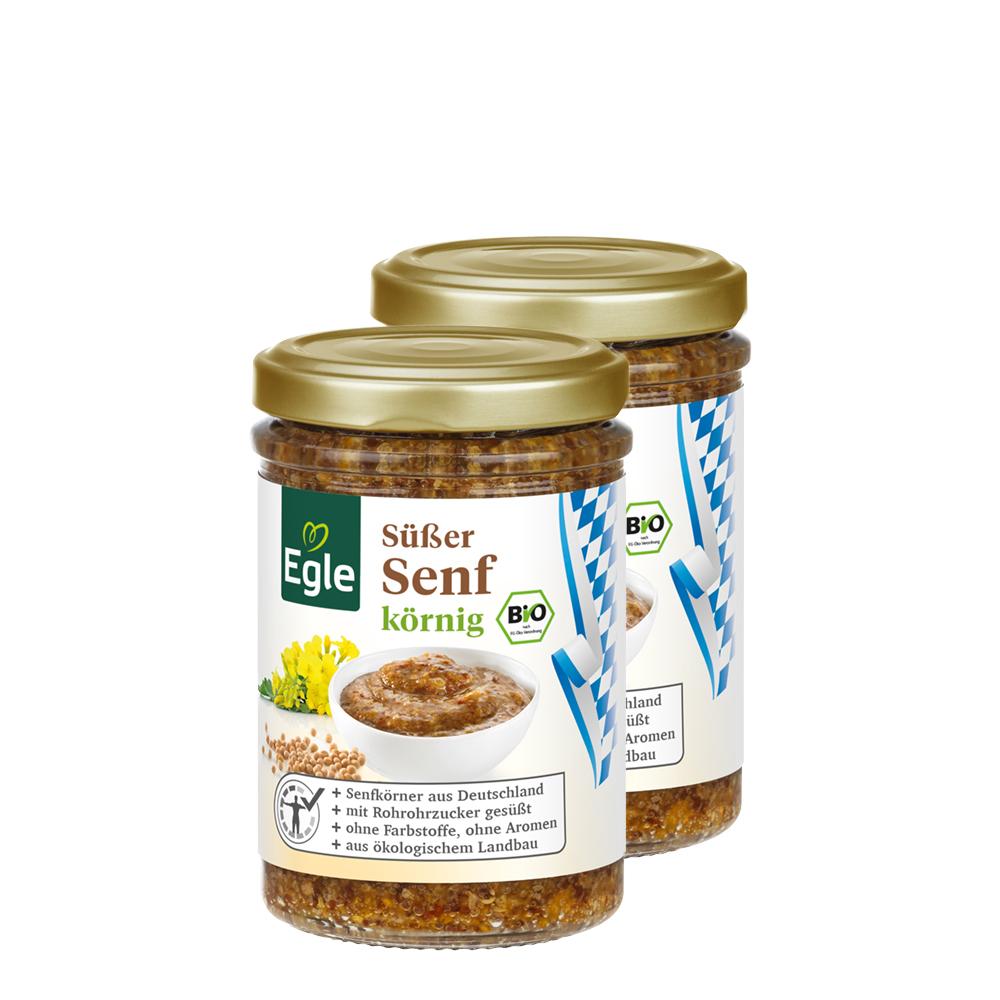Bio Süßer Senf körnig 2 x 160 ml