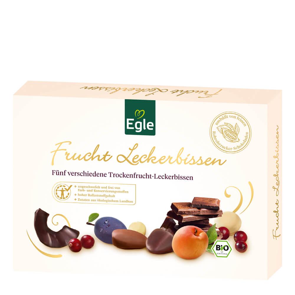 Bio Trockenfrucht-Leckerbissen in Schokolade zum Kennenlernen 200 g