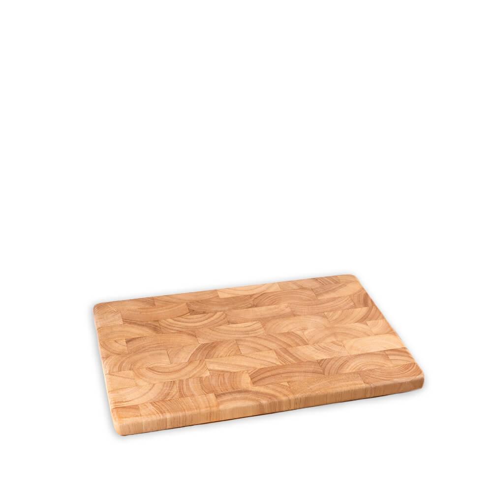 Holz-Schneidebrett aus Gummibaum-Stirnholz, klein
