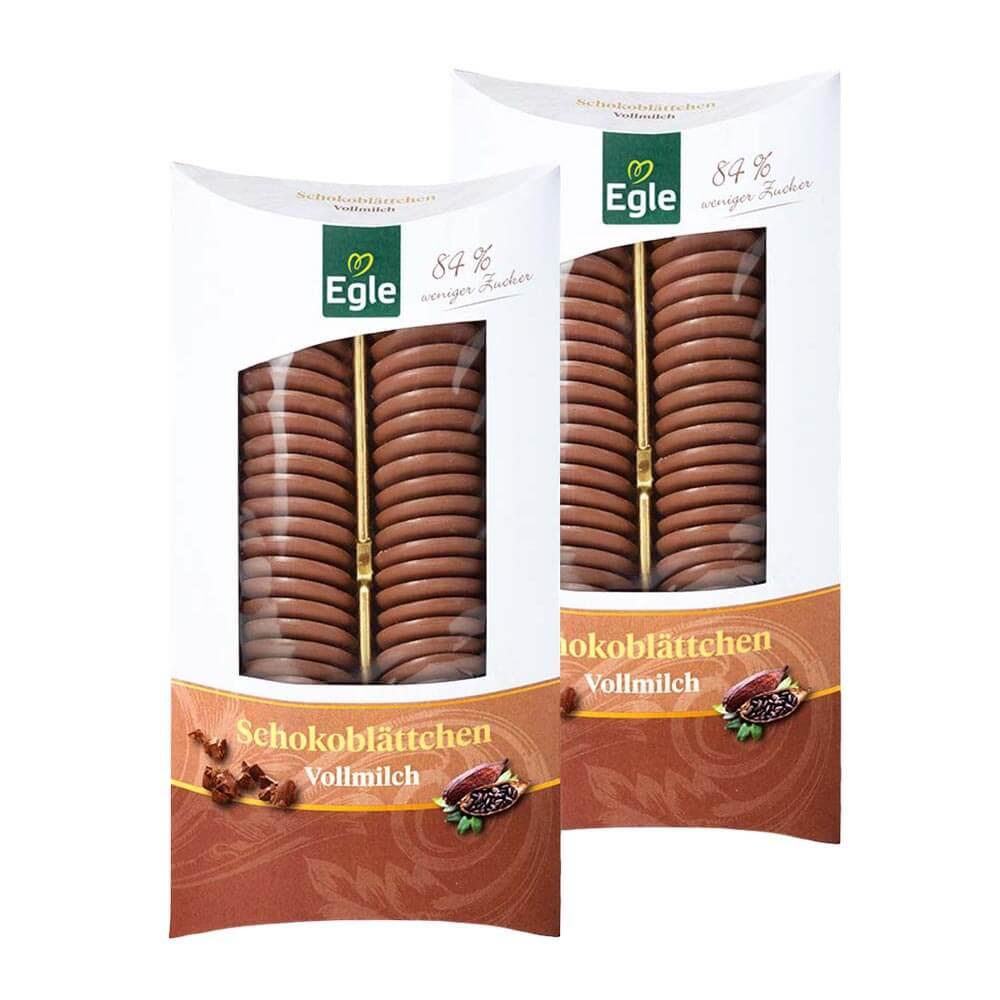 Zuckerreduzierte Schokoblättchen Vollmilch 2 x 100 g – Doppelpack