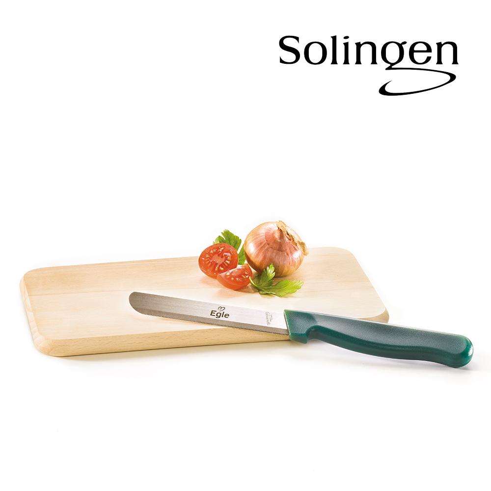 Buchenholz-Brettchen + Solinger Vielzweck-Messer als Dankeschön