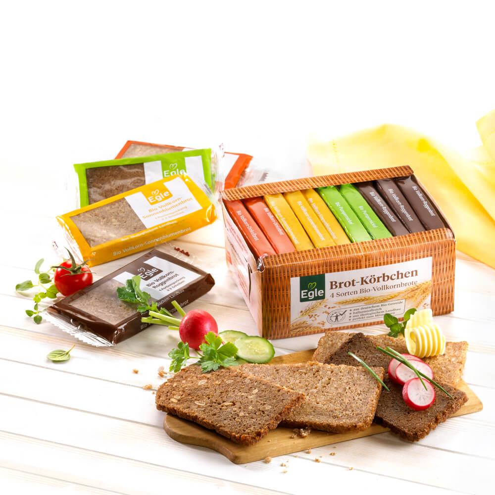 Bio Brotkörbchen mit 4 Vollkorn-Brotsorten, 500 g – Kostprobe
