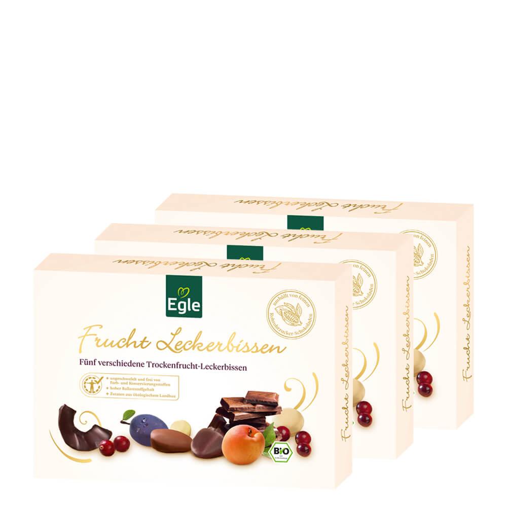 Bio Trockenfrucht-Leckerbissen in Schokolade 3 x 200 g