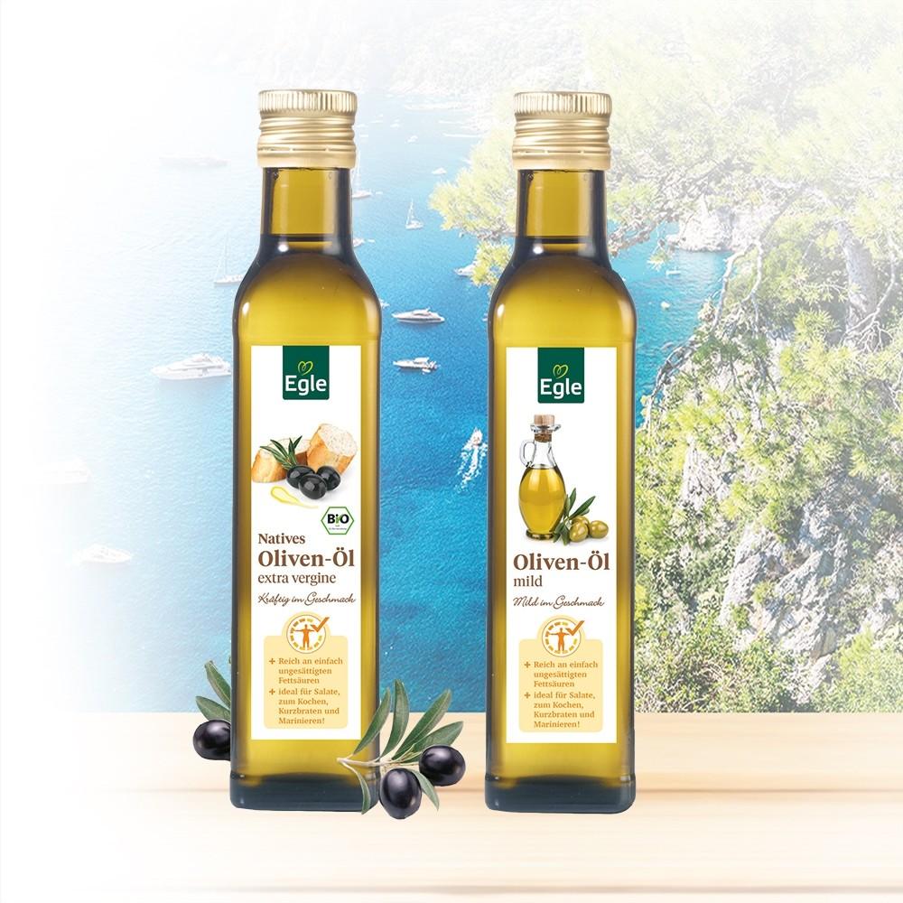 Natives Oliven-Öl extra vergine und Oliven-Öl mild je 0,75 l GRATIS