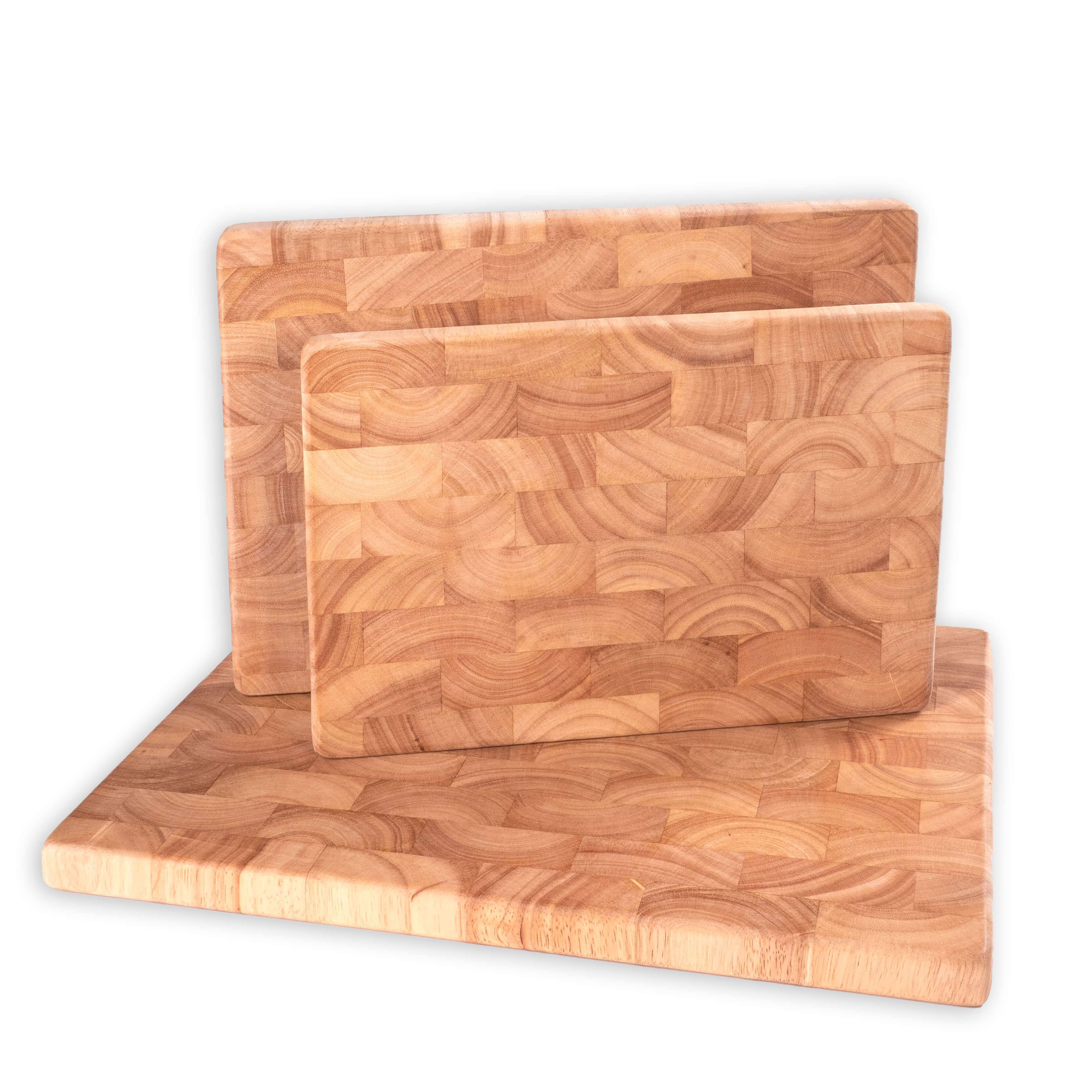 Holz-Schneidebretter aus Gummibaum-Stirnholz im 3er-Set